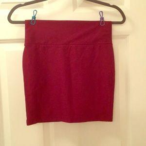 Wine red mini skirt